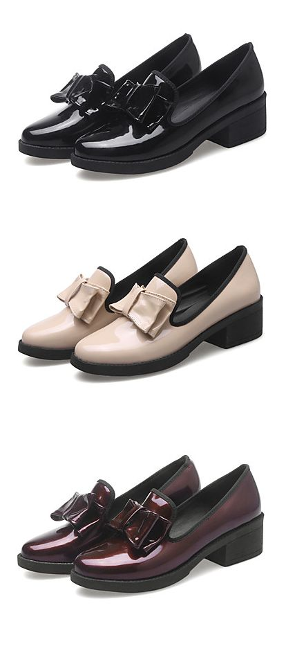 Casual bow embroidered spring shoes for office. Perfect with skirts/ pants... All-matching shoes at €29.39. Find them in black lacquers/ beige/ wine burgundy colors.