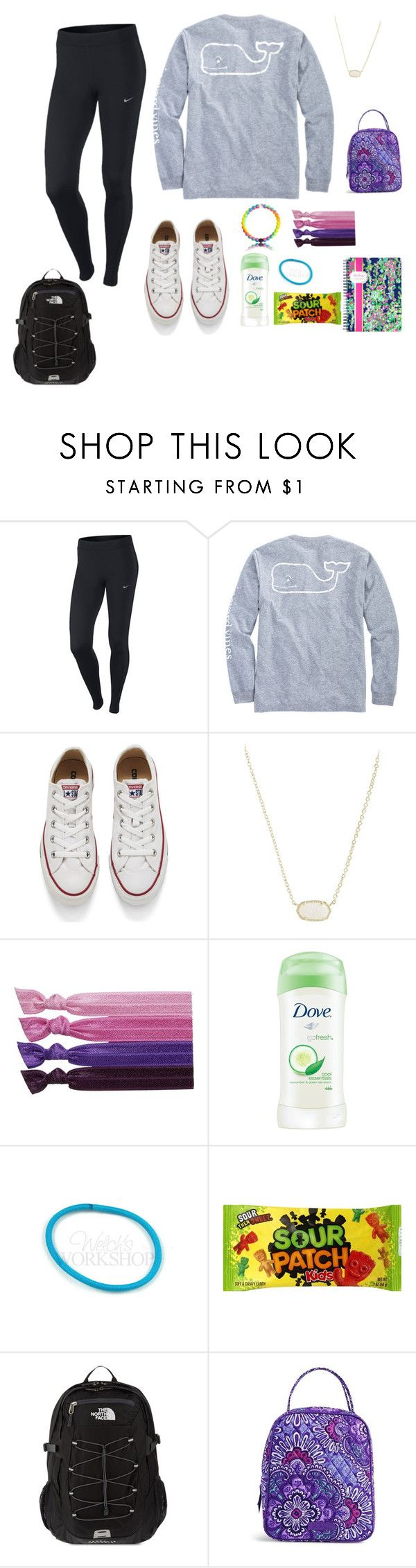 """Probably what I'm going to Wear Tomorrow"" by emmaychgee ❤ liked on Polyvore featuring NIKE, Vineyard Vines, Converse, Kendra Scott, Ribband, Dove, The North Face, Vera Bradley and Lilly Pulitzer"