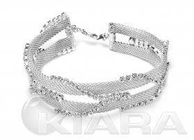 Nowoczesna bransoletka wykonana ręcznie z metalowej siatki i prawdziwych kryształowych oczek.