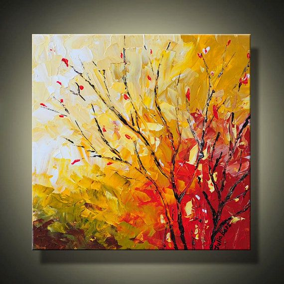 LANDSCAPE Painting 12x12 Abstract Art Autumn Tree by JuliaBarsArt, $75.00