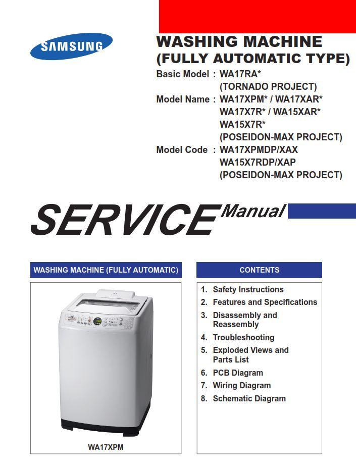 Samsung Wa15x7rdp Wa17x7rdp Washing Machine Service Manual Washing Machine Service Samsung Washing Machine Washing Machine