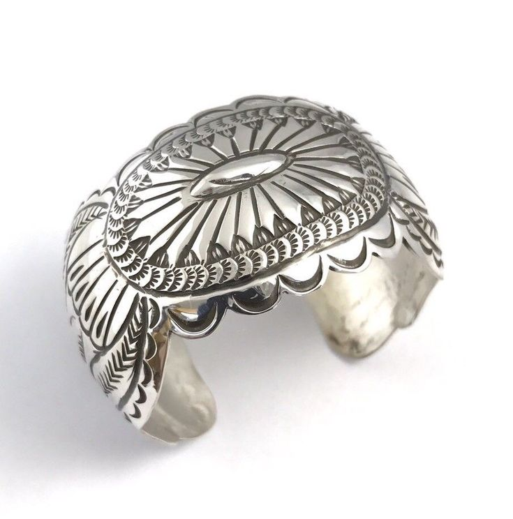 Native American Sterling Silver Navajo Handmade Stamp Silver Cuff Bracelet | eBay