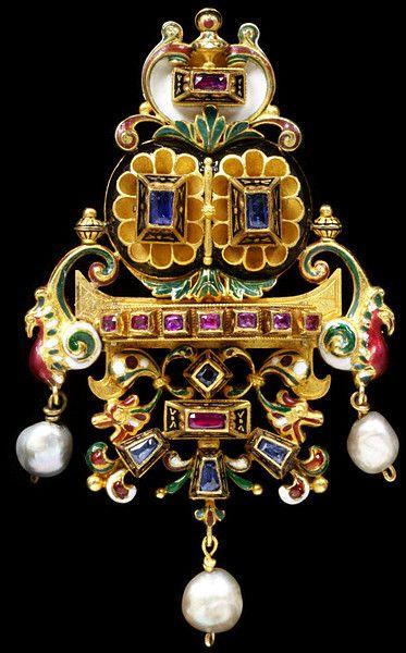 The Castellani Bird Brooch, Rome, circa 1860-1900, rubies, sapphires, openwork gold, enamel and pearls