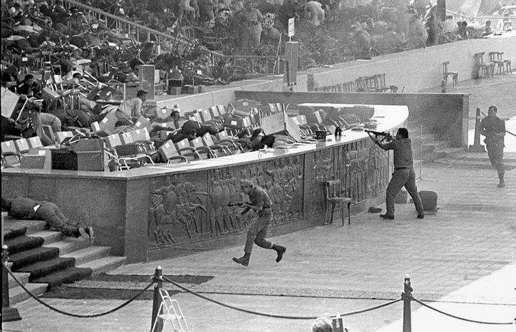 Egyptian soldiers fire on Egyptian President Anwar Al-Sadat while reviewing a military parade. The assassination is attributed to the Muslim Brotherhood. October 06, 1981 in Cairo