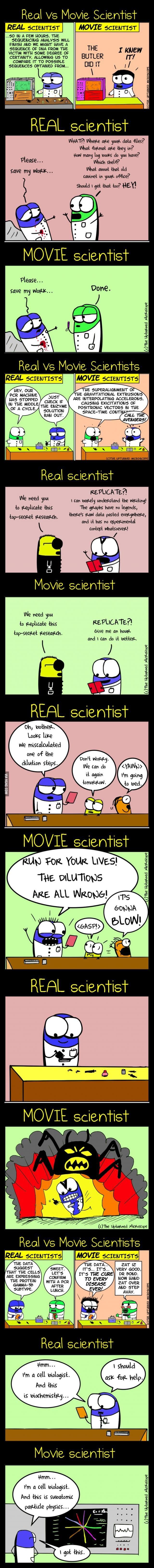 Real vs movie scientist