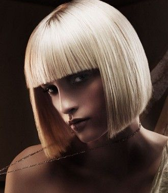 Medium Blonde straight coloured platinum white defined-fringe womens haircut hairstyles for women