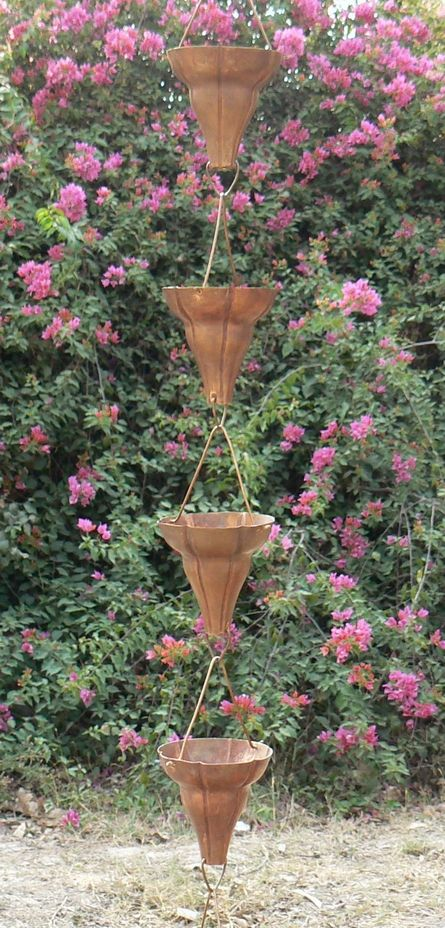 Monarch Florissima Pure Copper Rain Chain- 8.5 feet with 9 cups. This extra large cup rain chain offers an Asian inspired presence evoking a modern flair to enhance your home in a graceful way.
