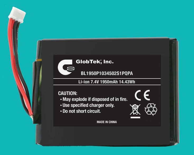 Li-Ion Prismatic Battery Pack from GlobTek, a 7.4V / 1950mAh BL1950P1034502S1PQPA Features UL 1642 Cell Approval and is designed to meet CE Mark which complies with 2004/108/EC Electromagnetic compatibility, including EN61000-6-1:2007, EN61000-6-3:2007!