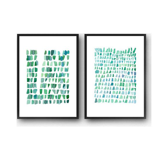 Abstract Watercolor paintings green blue set of by LouiseArtStudio
