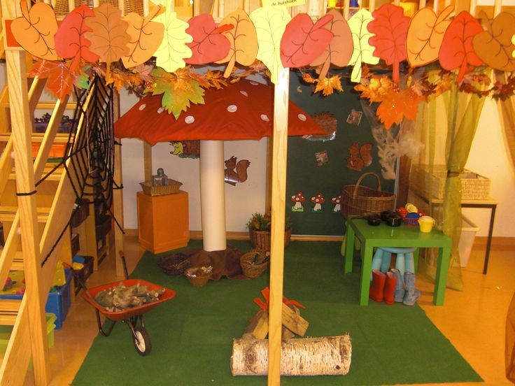 Inspirational Classroom; Beautiful Fall Themed Classroom, and everywhere (floor, corner, shelfs, tables) are invitations to start playing..under de (parasol) mushroom are baskets with little things...... Idea from kleutergroep.nl