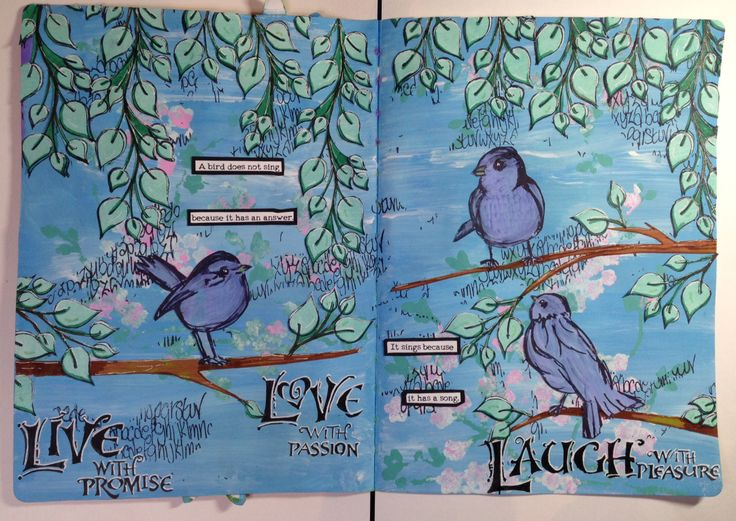 First acrylic page in my art journal...stamps used are Dylusions leafs & Dina Wakleys scribble birds.