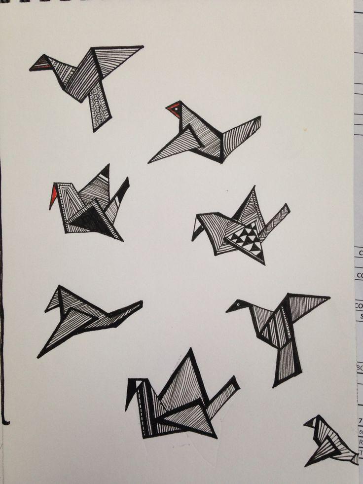 Origami birds sketch