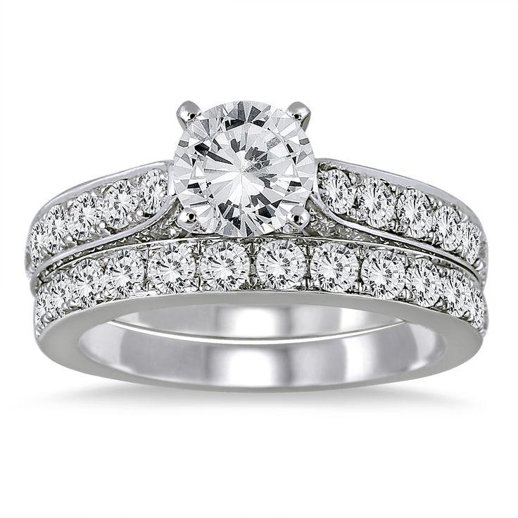 Unique  Carat White Diamond Bridal Set in K White Gold