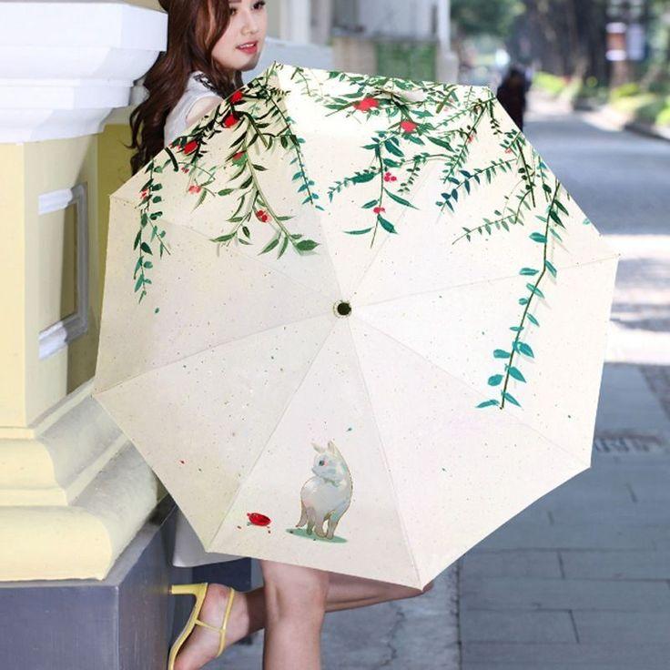 UV Protection Compact Umbrella Manual Sunshade Parasol Cat Rain/Clear Umbrella…
