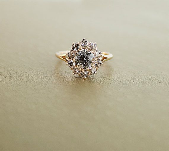 Antique 14K Rose Gold Clustered Flower Diamond Engagement Ring via Etsy