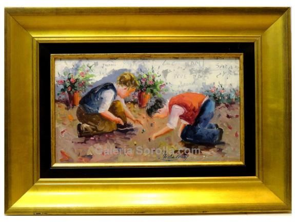 Montse Araez : Children playing. Medium: Oil on canvas Measurements (cm): 48x34 Canvas measurements (cm): 33x19 Interior frame: Yes. Pretty work of the well-known Montse Aráez, in which he returns to play with one of his favourite subjects which he masters to perfection, scenes of children and their games.Winner of several competitions, his work is found throughout the peninsular.  $190.78