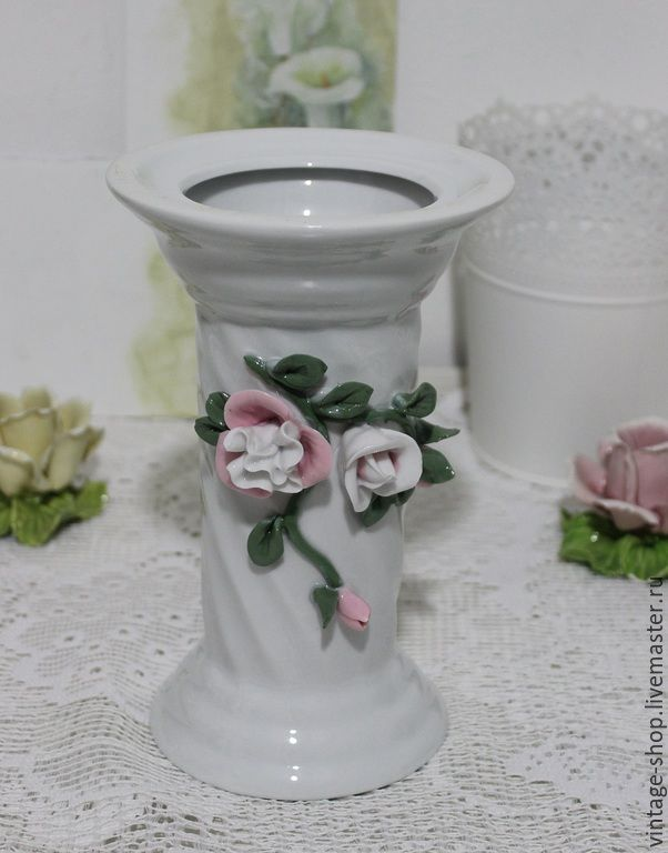 Купить Фарфоровая ваза, лепка, шебби шик, Германия - белый, ваза, ваза для цветов, фарфор