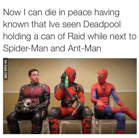 """The best part of this picture is you just know Spidey is giving him the """"I'm so done with you"""" look."""