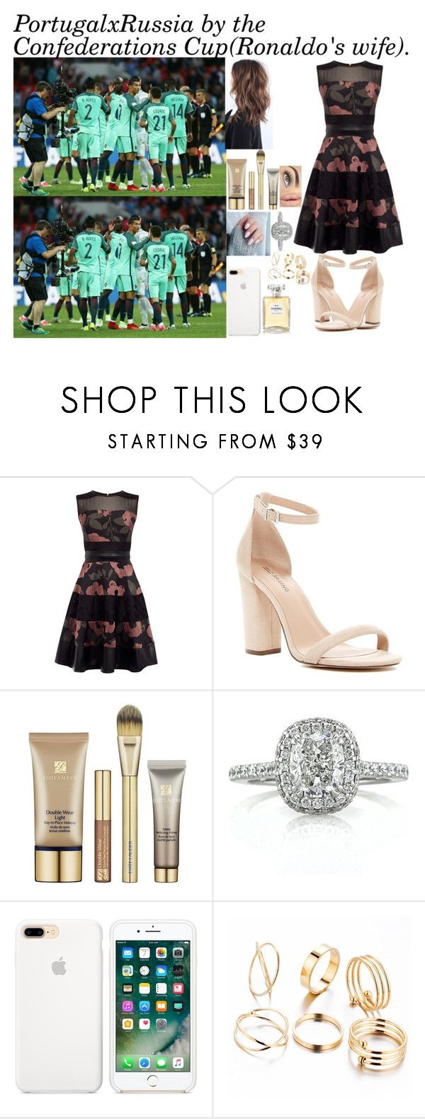 """""""Portugal x Rússia by the Confederations Cup in Russia (Ronaldo's wife)."""" by tatabranquinha ❤ liked on Polyvore featuring Call it SPRING, Estée Lauder, Mark Broumand, Chanel, cristianoronaldo, Russia and confederationscup"""