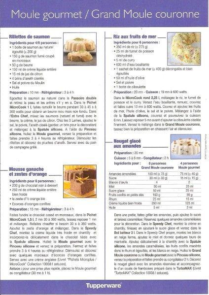 Fiche recette Moule gourmet - Grand moule couronne  - Tupperware : Rillettes au saumon, Riz aux fruits de mer, Mousse ganache aux zestes d'orange, Nougat glacé aux amandes.
