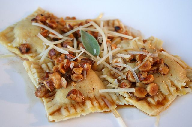 Squash, Sage, and Goat Cheese Ravioli with Hazelnut Brown-Butter Sauce ...