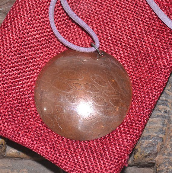Patinated Copper Pendant on a Dusky Pink Cord.  by SaSousaDesigns