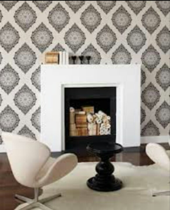 Kelly Hoppen Tattoo wallpaper we choose for our accent wall in our living room with a white fireplace. It will be accompanied by perfect greaige paint on opposite walls ♥!!: