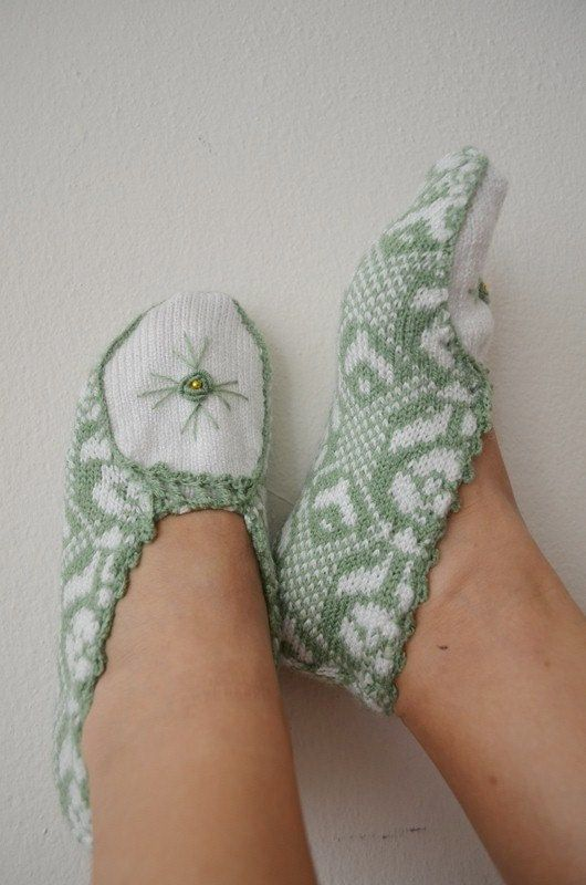Aqua green and white ethnic knit slippers ,authentic regional slippers,  slippers,Home slippers - OOAK-Cyber Monday on Etsy, $26.99