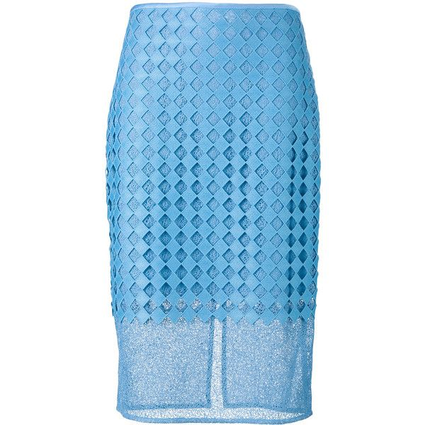 Diane Von Furstenberg embroidered pencil skirt (540 CAD) ❤ liked on Polyvore featuring skirts, blue, blue pencil skirt, blue skirt, embroidered skirt, embroidered pencil skirt and pencil skirt