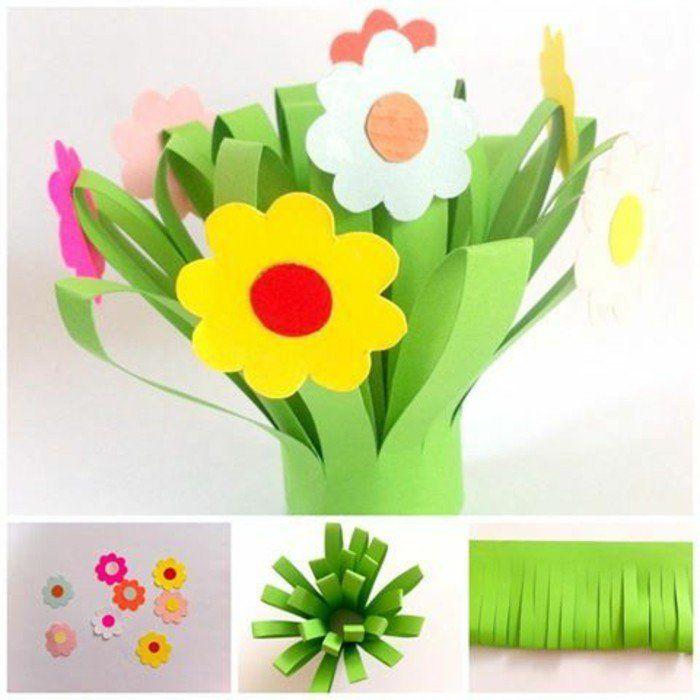 tutoriel pour fabriquer des fleurs en papier, idée activité créative maternelle et primaire, fleurs multicolores, bricolage printemps
