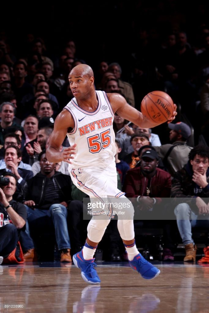 Jarrett Jack of the New York Knicks handles the ball during the game against the Los Angeles Lakers on December 12, 2017 at Madison Square Garden in New York, New York.