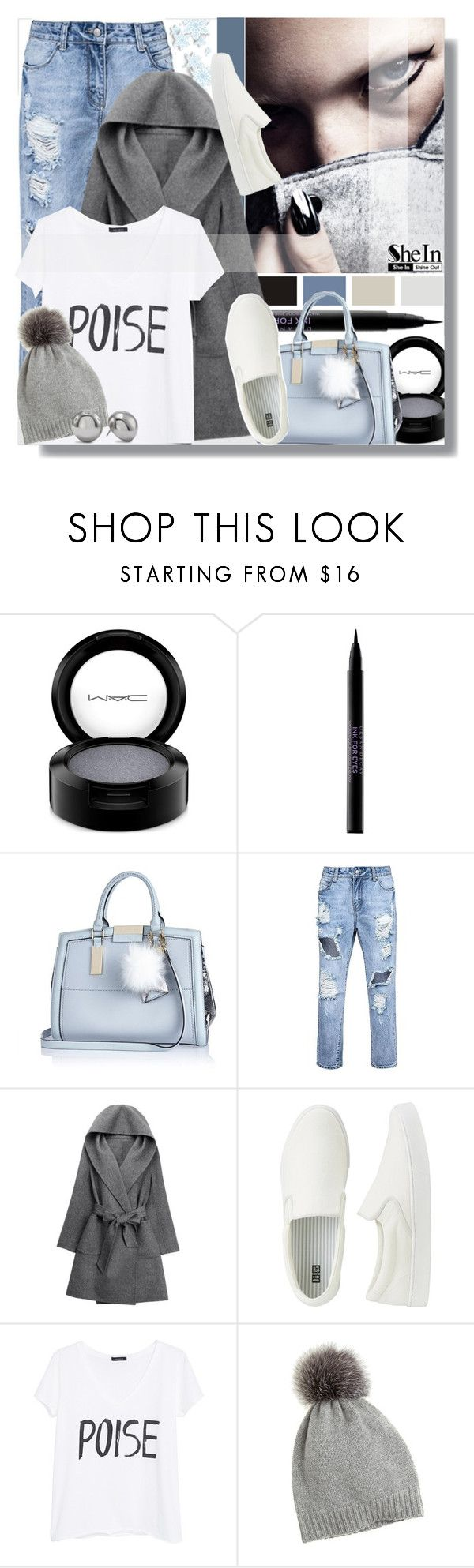 SheIn Grey Coat by prigaut on Polyvore featuring MANGO, WithChic, Uniqlo, River Island, Chico's, Calypso St. Barth, MAC Cosmetics, Urban Decay, greycoat and shein