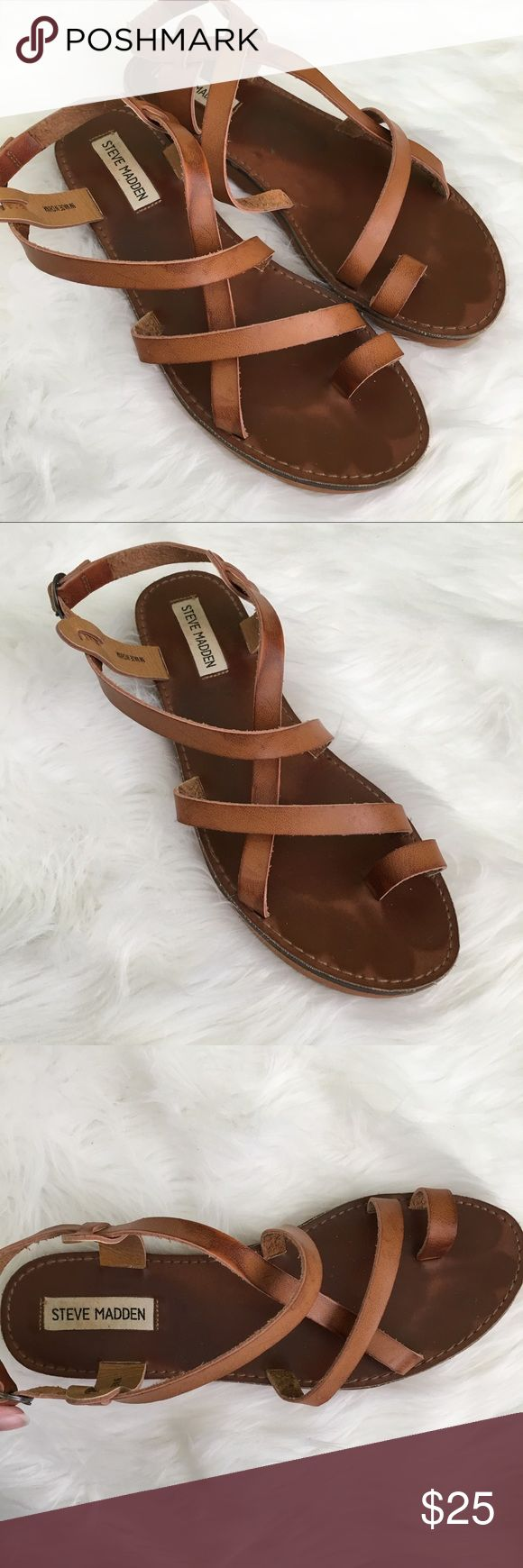 Steve Madden Brown Leather Strappy Sandals