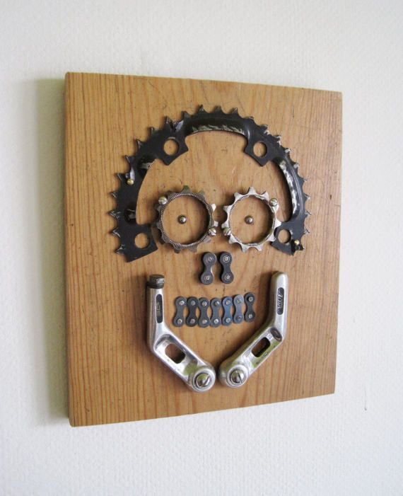 Skull made from bicycle parts
