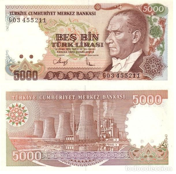 TURQUIA - TURKEY 5.000 LIRASI 1990 (L1970) FIRMA II PICK 198. UNC (Numismática - Notafilia - Billetes Extranjeros)