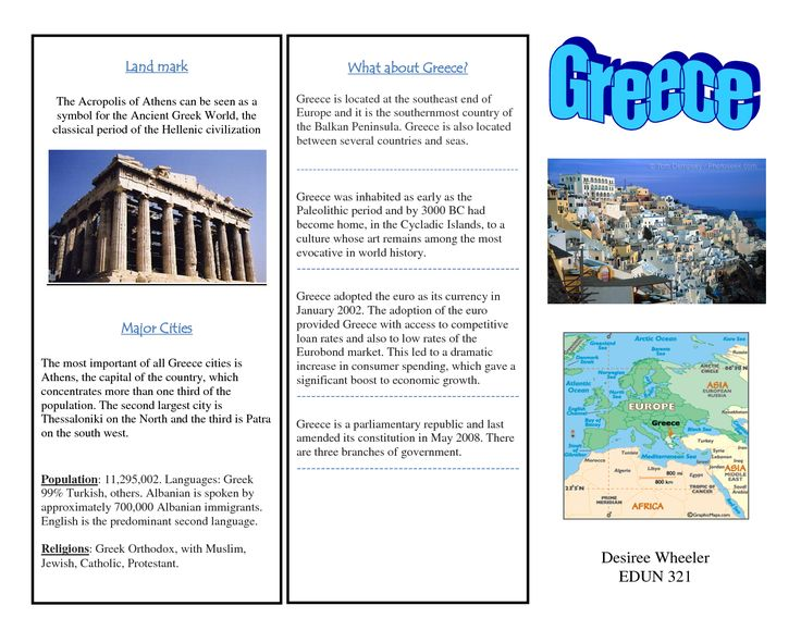 Greece Travel Brochure Kids Writing Project Europe Unit