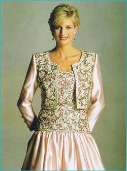 Diana in beaded Victor Edelstein dress
