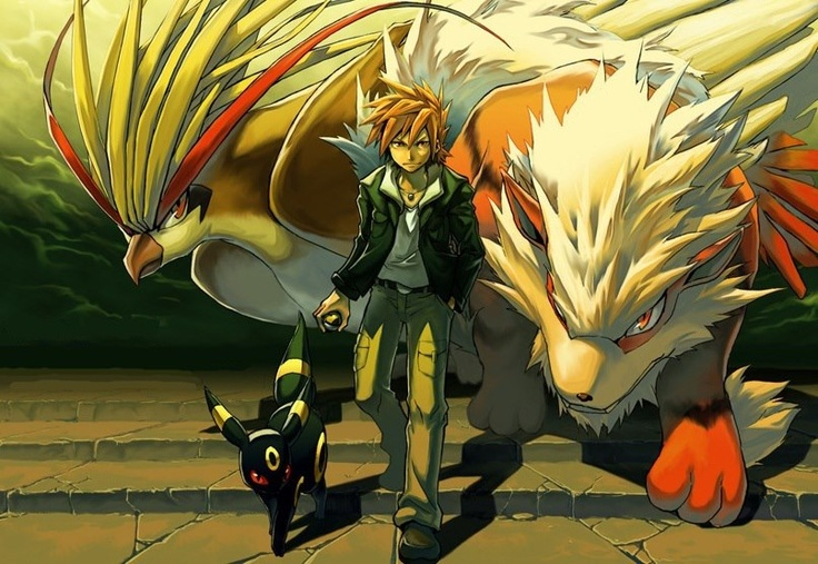 Gary Oak, Arcanine, Pidgeot & Umbreon: Green Videogameart, Pokemon Blue, Leader Green, Gotta Catchem, Gym Leader, Green Pokemon, Gary Oak, Pokemon Character, Legit Green
