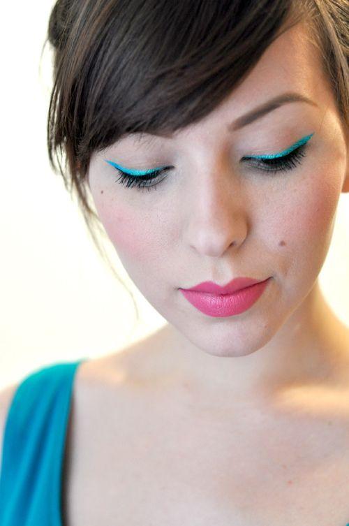 bold eyelinerLipsticks Colors, Turquoise Eyeliner, Makeup, Pink Lips, Bold Eyeliner, Nyx Cosmetics, Neon Eyeliner, Eye Liner, Bold Colors