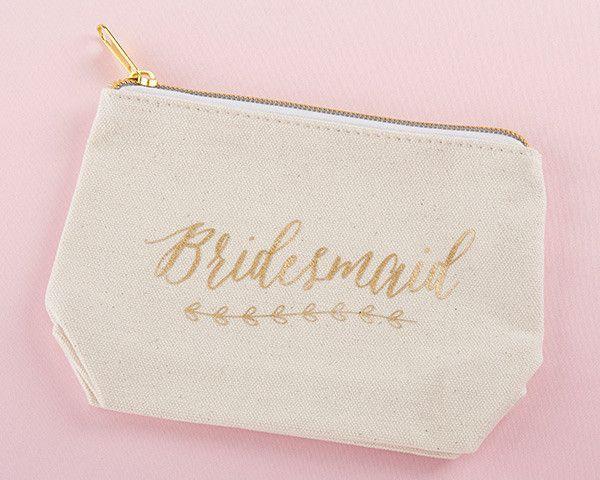 "Gold Foil ""Bridesmaid"" Canvas Makeup Bag"