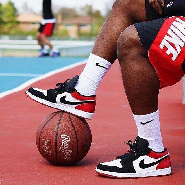 Air Jordan 1 Low Black Toe White Black Gym Red in 2021   Air ...