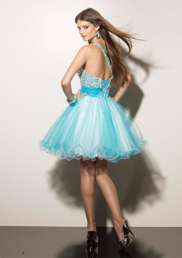 2012 Style A-line One Shoulder Beading Sleeveless Short / Mini Tulle  Cocktail Dresses / Homecoming Dresses