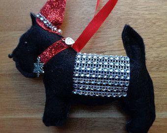 Marrón hecho a mano fieltro Navidad Boxer perro por CraftyBunnyDog