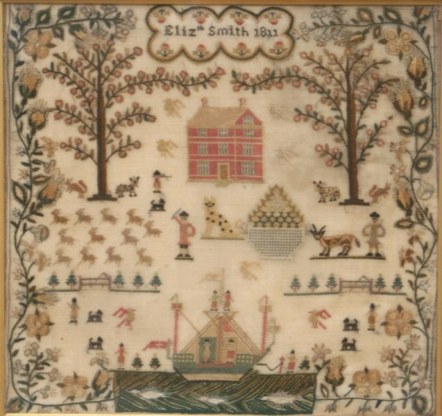 Elizabeth Smith 1811. An exceptional silk sampler that has everything House boat fish animals and farmers all worked in a very fine and unusual floral border.