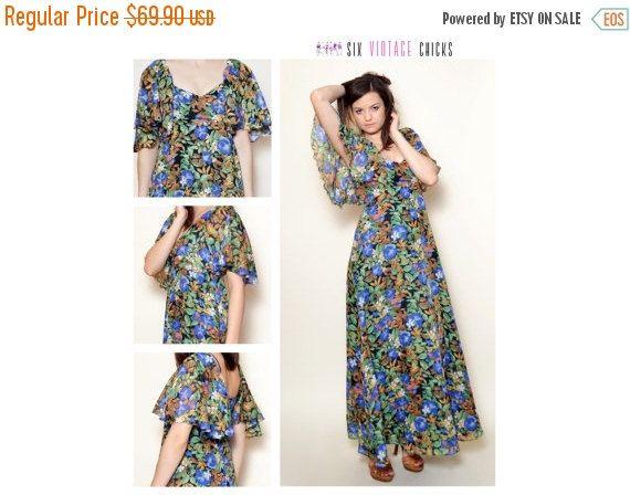 40% Off Xmas Sale Hippie Dress,Free Shipping, Retro Style, Garden Party Dress, 70's, Vintage Womans Clothing, Bohemian, Festival, Boho dress