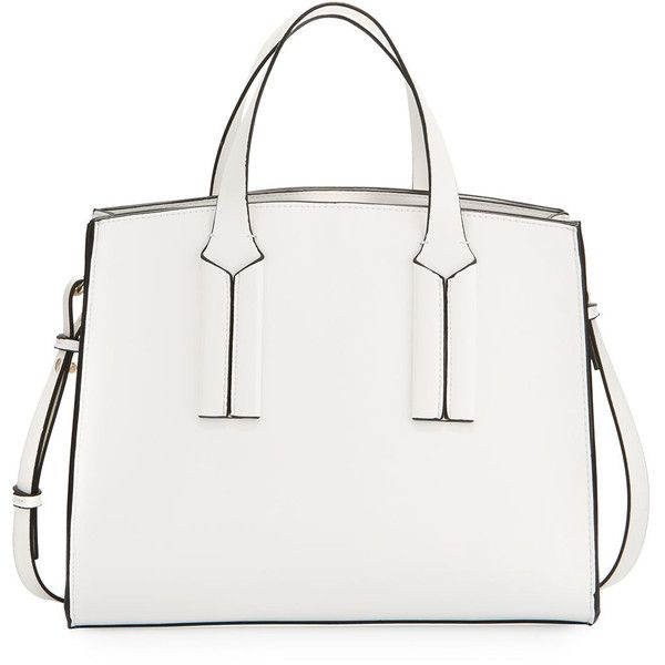 French Connection Coy Faux-Leather Tote Bag ($90) ❤ liked on Polyvore featuring bags, handbags, tote bags, white, vegan leather tote bag, faux leather tote, pocket tote, white tote handbags and vegan tote bags