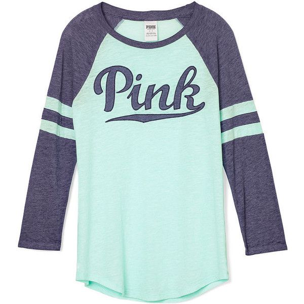 Baseball Tee PINK ($34) ❤ liked on Polyvore featuring tops, t-shirts, victoria secret tee, victoria's secret, green baseball t shirt, green t shirt and victoria secret t shirts