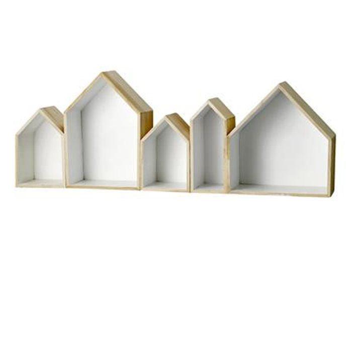 Cajas de madera, interiores en blanco y exteriores en madera.Medidas conjunto: 95x16xH35cm