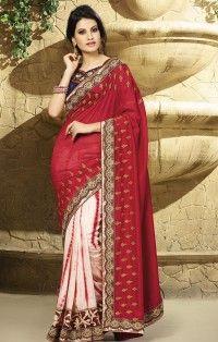 Debonair Red & Light Pink Jacquard Wedding Wear