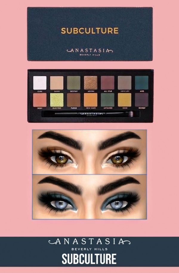 Make Up: Anastasia Beverly Hills Subculture Palette from Kenzar Sims • Sims 4 Downloads